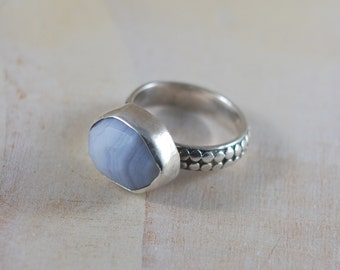 Blue Lace Agate Bezel Set Rose Cut Natural On Textured Sterling Silver Chunky Band Ring Vintage