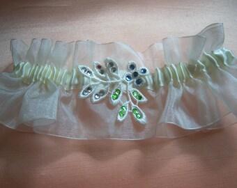 Ivory wedding garter bridal garter organza garter with diamante