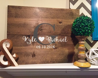 Hand-Painted Rustic Wooden Pallet-like Guest Book (Customizable)