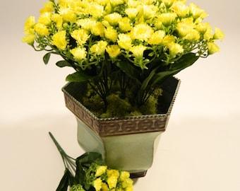 """Mini Flower Bush in Yellow - 11"""" Tall"""