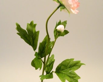 "Silk Peony Spray in Beige with Fuchsia Highlight - 22"" Tall"