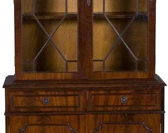 Vintage Two Door Bookcase in Mahogany with Glass Doors