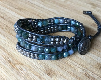 CatMar Beaded Moss Agate with Pewter Seed Beads Bracelet with Gray Leather Cord and Antique Silver Button