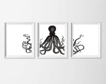 Printable Octopus Art , Beach Art Black White , Beach Cottage Wall Decor Ocean Nursery Art , Kids Room Octopus Art , Bathroom Ocean Art