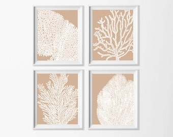Beige Sand Coral Wall Art , Beach Art Printable , Neutral Wall , Dining Room Art , Coastal Art Nursery , Cottage Art , Neutral Bathroom Art