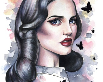 Vintage Girl Painting ACEO Giclee Print by Emily Luella