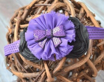 Purple Polka Dot Headband, Baby Headband, Infant Headband, Toddler headband