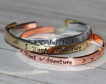 I Want Adventure  hand stamped cuff bracelet - Gift for Her, Inspirational Jewelry | Choice of Metals | Travel bracelet| Wanderlust Jewelry