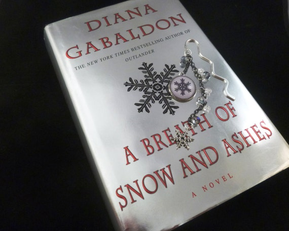 Mini Outlander inspired A Breath of Snow and Ashes silver metal bookmark w/ book cover pendant & silver snowflake charm