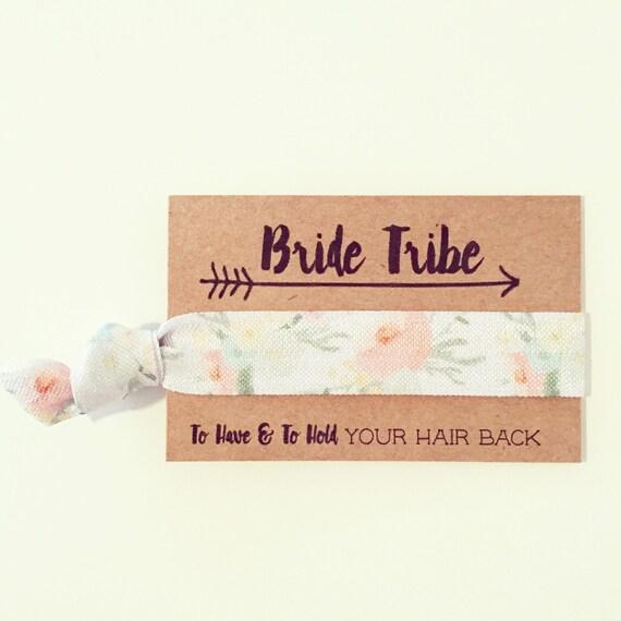 Peach Floral Bachelorette Hair Tie Favors | Bridesmaid Gift Bride Tribe Hair Ties, Boho Bohemian Peach Floral Bachelorette Hair Tie Favors