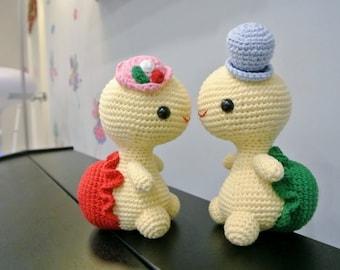 Mr and Mrs Titos Crochet Tortoise Amigurumi - Handmade Crochet Amigurumi Toy Doll - Turtle Wedding - Tortoise Crochet - Amigurumi Tortoise