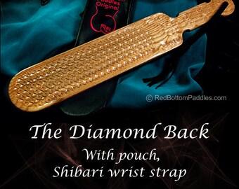 The Diamond Back, Select Oak, includes Black Leather Look Pouch & Shibari wrist strap.