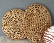 Vintage trivet | vintage raffia trivet | seagrass trivet | pair of trivets | coastal decor | beach decor | tiki decor | coastal kitchen |