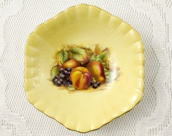 Aynsley Orchard Gold Fruit Bowl, Nappy Bowl, Vintage Bone China, Hexagon Shape