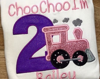 Girls Choo Choo I'm 2  Shirt