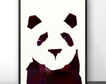 Panda Painting, panda art, acrylic painting, print, minimal printable art, Digital Download, pink and black, panda print