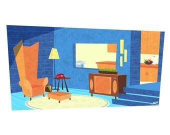 Blue Retro Living Room, 8.5x11 Print