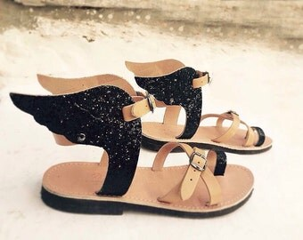 Hermes Greek  sandal- Glitter Wings-Ancient Greek sandals-Glitter sandlas