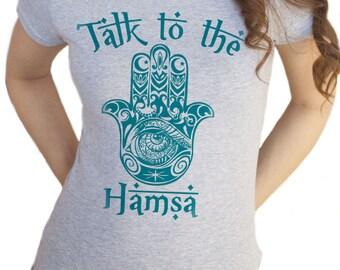 Women's T-Shirt, Fatima Hand, Talk to the Hamsa Print TS210