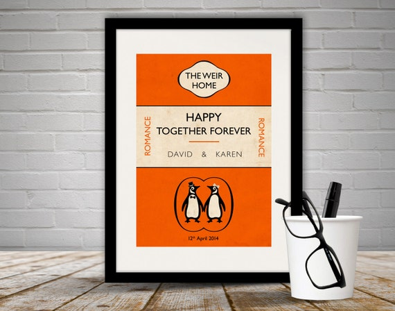 Penguin Book Cover Prints ~ Personalised penguin book cover print by loveloveprintsshop