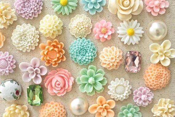 Soft Pastel Flower Thumb Tacks Mixed Pastel Color Floral Push