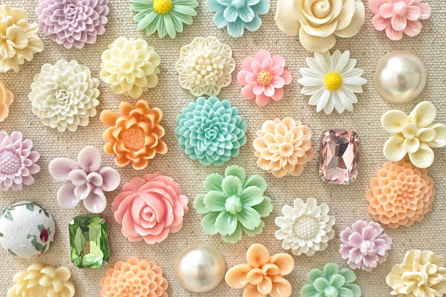 Soft Pastel Flower Thumb Tacks Mixed Pastel Color Floral Push