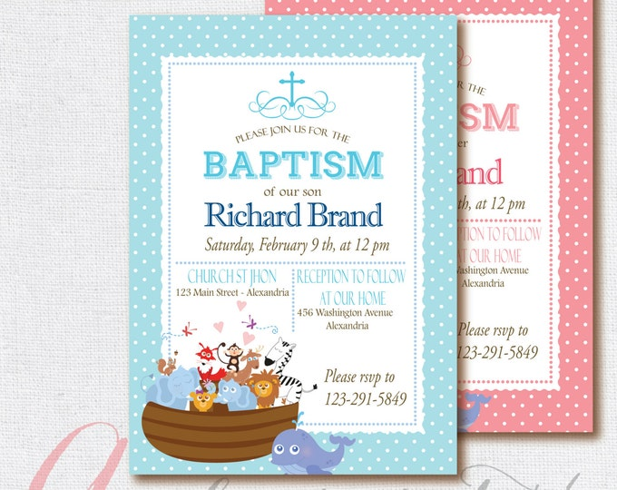 Baptism invitation. Noah's Ark Printable Invitation. Noah's Ark Baptism .Printable Baptism invitation. Girl Baptism.Boy Baptism invitation.