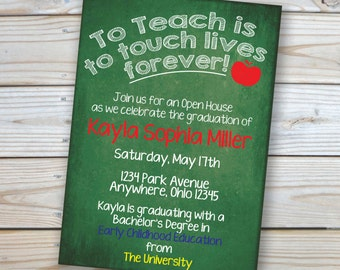 College Graduation Invitation- Teacher - Party - Open House -5x7 - Customized - Printable