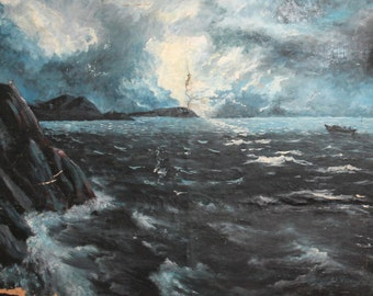 1988 European oil painting seascape signed