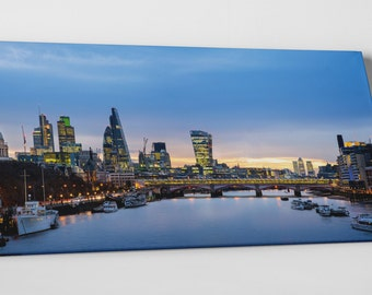 London UK Downtown Panoramic Skyline Gallery Wrapped Canvas Print
