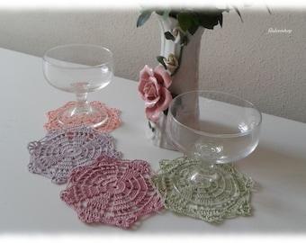 crochet coloured coasters