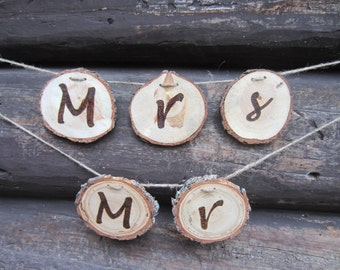Mr and Mrs chair banners, mr and Mrs banners, chair banner, wedding chair banner, wood banner, log banner, woodland wedding decor, banner
