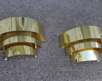 2 brass plated 3 tier cascade wall sconces in the manner of lightolier.