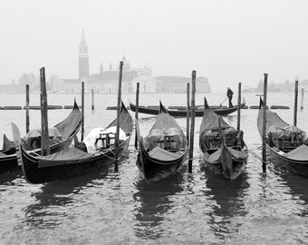 Venice Italy Print, Black and White Photography, Gondola Boats, Travel Photography, Venice Wall Art, Fine Art Print, Europe, Travel Decor
