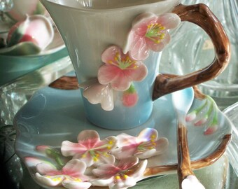Garden Party Cherry Blossom Floral Porcelain Tea Set by Two's Company 3 Piece Set in a Gift Box