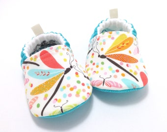 Aqua Dragonfly Baby Shoes, Soft Sole Baby Shoes, Baby Booties, Toddler slippers, baby shoes girl