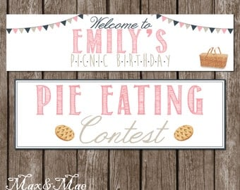 Picnic Birthday Banners and Signs, Pie Eating Contest Banner, Picnic Bridal Shower, Picnic Theme, Digital, Printable