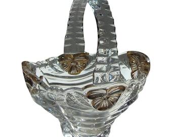 BRIDE'S BASKET Vintage Glass Handled Pressed Glass Basket With Floral Trim Wedding Decoration Or Centerpiece