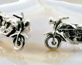Motorcycle - stud earrings 925 sterling silver --   1411