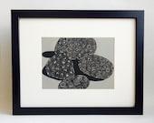 "Petoskey Stones handmade linocut print 5x7"" unframed (gravel gray).  Michigan art, birthday gift, wedding gift, housewarming gift"