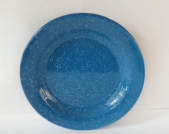 Blue Spatterware, Enamelware Plate, Camping Equipment, Vintage Camping, Enamel Plates, Graniteware, Blue Spatter Ware