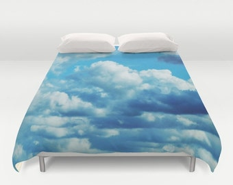 BLUE SKIES  Duvet Cover Photo Blue White Sky Clouds Double/Full-Queen-King Bedding Bed Bedroom Home Decor Home and Living