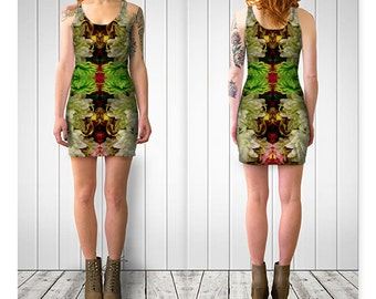 """Floral 2 Bodycon Dress Women Teen Clothes Clothing Wearable Art Reversible XS-S-M-L-XL32"""" 34"""" 37"""" 40"""" 42"""" bust"""