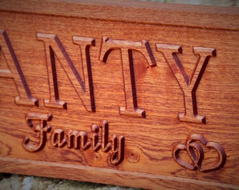Custom Wood Family Name Sign Wedding Gift Custom Carved Wooden Signs Last Name Décor Established Wood Plaque 3D Engraved Couple Anniversary