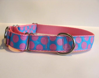 READY TO SHIP! Pink/Blue Sugar Dots Dog Martingale Collar