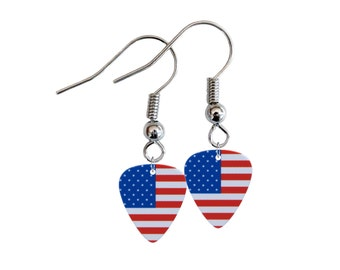 Flag Of United States Mini Guitar Pick Earrings