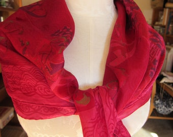Vintage Thai Silk Scarf/ Silk from Thailand/ Red Silk w/ Gold Details