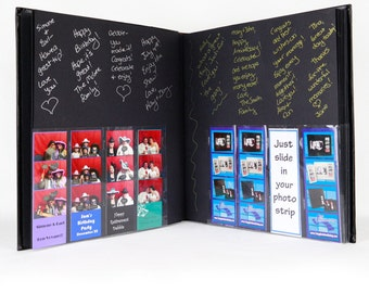Photo Booth Album / 11x12 Slip In/Bookbound 40pg Black Leather w/2x6 Photo Strip Insert on Cover