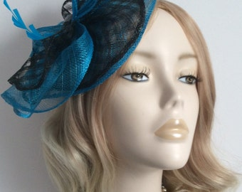 BLACK and TURQUOISE FASCINATOR, Made of sinamay, with Feathers, Lozenge bead, on a small  headband