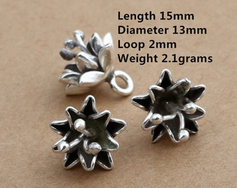 3 Karen Tribe Silver Little Flower Charm, Karen Hill Silver Flower Charm, Higher Silver Content than Sterling Silver Flower Charm -E493
